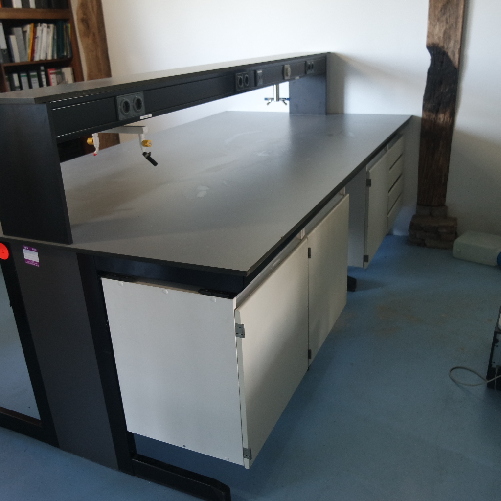 We have several used laboratory tables from SplusB for sale. These high quality laboratory tables are offered including cabinets and table tops, see website