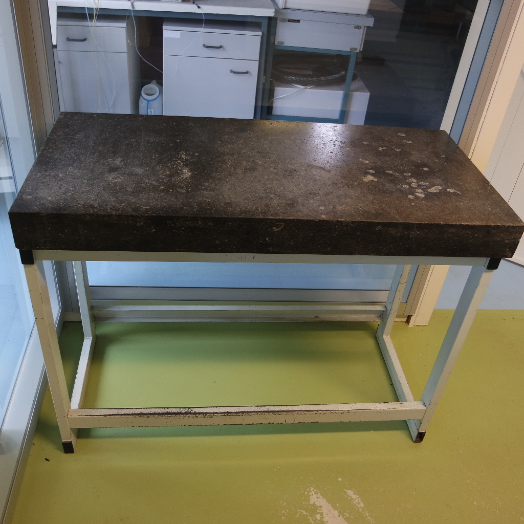 Large size used laboratory weighing table, granite top
