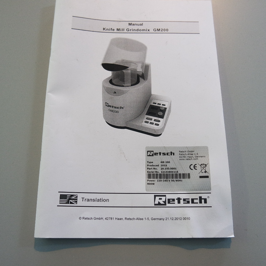 Used Grindomix Gm 200 Knife Mill From Retsch S A Le