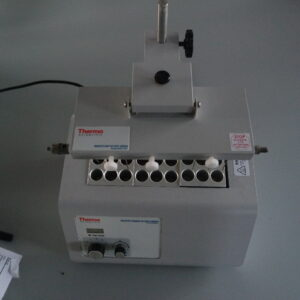 For sale a used dry block heater with evaporation unit, type Reacti-Therm III 1882, ThermoScientific. For thermolabile samples, incl. 3 blocks + 2 ml vials.